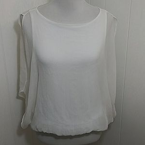 Alice and Olivia AIR White Silk Blousom Top
